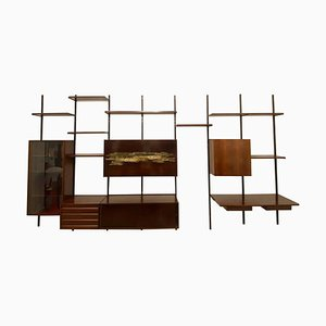 E22 Wall Unit in Rosewood with Arnaldo Pomodoro Sculpture by Osvaldo Borsani
