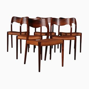 Model 71 Dining Chairs by N. O. Møller, 1960s, Set of 6