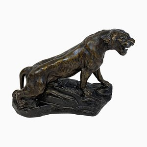 Art Deco Cast Zinc Lioness Figure by Thomas Cartier, 1930s