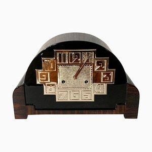 Art Deco Macassar, Black Lacquer and Nickel Table Clock, 1930s