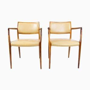 Model 65 Rosewood Armchairs by N.O. Moeller, 1960s, Set of 2