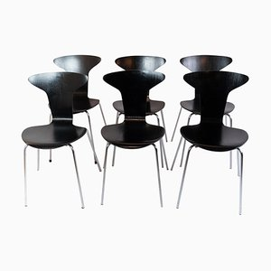 Black Munksgaard Chairs by Arne Jacobsen In 1955, Set of 6