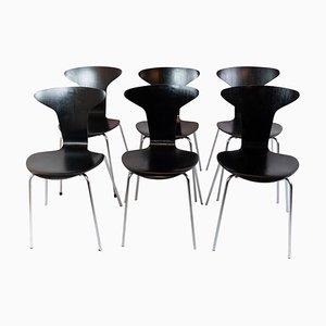 Chaises Munksgaard Noires par Arne Jacobsen en 1955, Set de 6