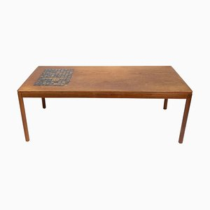 Danish Teak Coffee Table with Brown Ceramic Tiles, 1960s