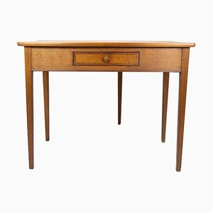 Antique Playing Table with Small Oak Drawer, 1830s