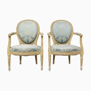 French Louis XVI Open Armchairs, Late 18th Century, Set of 2