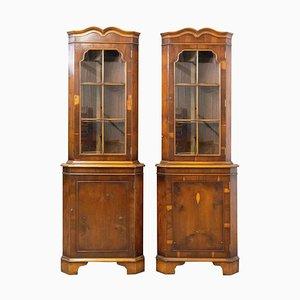 French Mid-Century Yew Wood Showcase Cabinets, Set of 2