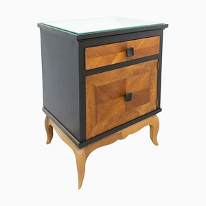 French Nightstand in Two-Toned Black and Cherrywood, 1960s