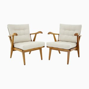 Oak Armchairs, Czechoslovakia, 1960s, Set of 2