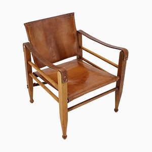 Safari Chair in Oak and Leather, Denmark, 1960s