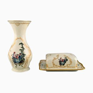 Vase and Butter Tray in Hand Painted Porcelain from Rosenthal, Set of 2