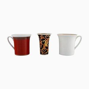 2 Tassen und eine Vase aus Porzellan von Gianni Versace für Rosenthal, 3er Set