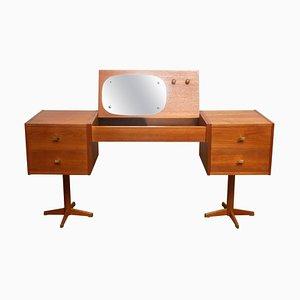 Scandinavian Vanity Dressing Table in Teak and Brass, Sweden, 1960s