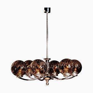 Chromed Chandelier with Six Crystal Mazzega Globes from Kaiser Leuchten, 1960s