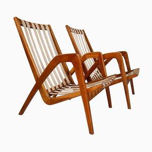High Back Armchairs in Oak by Jan Vanek Praque, 1940s