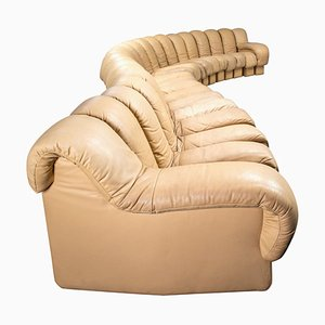 DS 600 Cream Leather Snake Sofa by Ueli Berger for de Sede, Switzerland, 1972