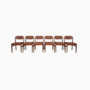 Mid-Century Danish Teak and Leather Dining Chairs by by Johannes Andersen for D-Scan, Set of 6