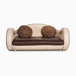 Slow Rider Cream Leather Sofa from Bretz