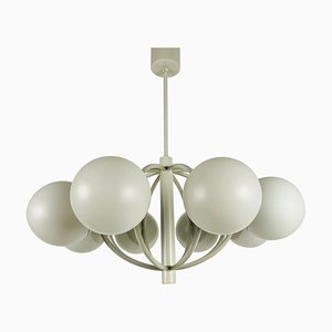 Large Mid-Century White Space Age Chandelier from Kaiser, 1960s, Germany