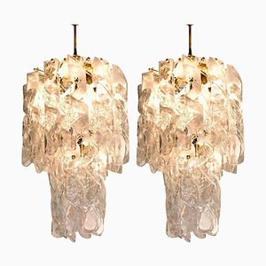 Large Torciglione Brass White Spiral Murano Glass Chandeliers, 1960, Set of 2