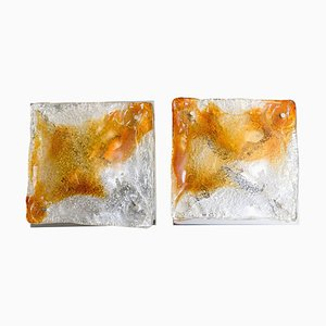 Murano Glass Abstract Wall Sconces from Mazzega, Italy, 1970, Set of 2