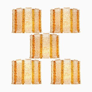 Gold-Plated and Ice Glass Drum Wall Sconce by J.T. Kalmar, Austria