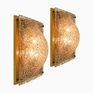 Viereckige gewölbte Murano Wandlampe aus Rauchglas und Messing