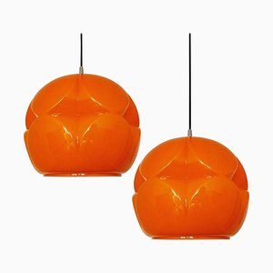 Geometrical Cast Opaque Orange Glass Fixture from Peill & Putzler, Set of 2