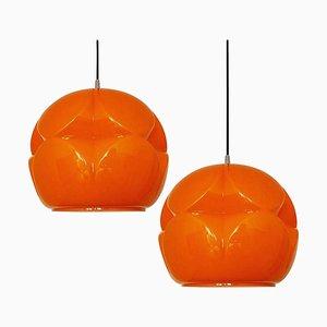 Optisch Geformte Orangefarbene Glasfassung von Peill & Putzler, 2er Set