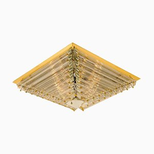 Large Gold-Plated Piramide Flush Mount from Venini, 1970s, Italy