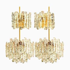 Eisglas Wandlampen und Kronleuchter von Kalmar, 4er Set