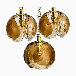Smoked Glass and Brass Pendant Light from Kalmar, 1970s