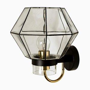 Große Wandlampe aus Eisen & Glas von Glashütte Limburg, 1960