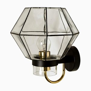 Large Iron and Clear Glass Wall Light from Glashütte Limburg, 1960