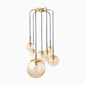 Brass Cascade with Seven Hand Blown Globes from Glashütte Limburg