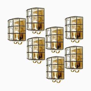 Eisen und Blinkglas Wandleuchte von Glashütte Limburg, 1960er