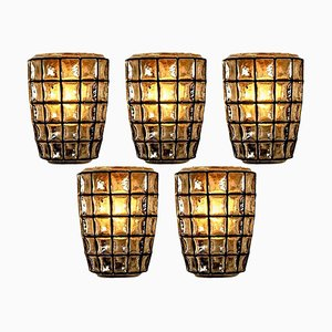Iron and Bubble Glass Sconce from Glashütte Limburg, 1960s