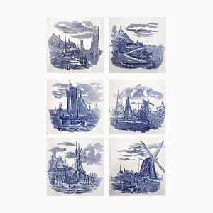 Dutch Blue Ceramic Tiles by Gilliot Hemiksen, 1930s, Set of 6
