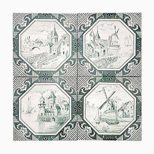 Ceramic Tiles by Gilliot Hemiksen, 1930, Set of 4