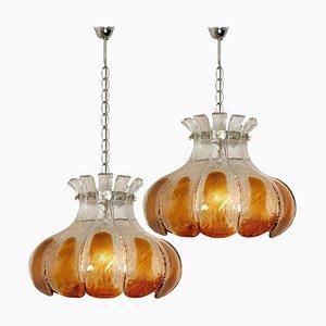 Bernsteinfarbene Blumen Deckenlampe aus Glas von AV Mazzega, Italy, 2er Set