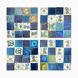 Panel of 16 Authentic Glazed Relief Tiles, 1930s