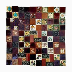 Panel of 25 Handmade Tiles, France, 1930s