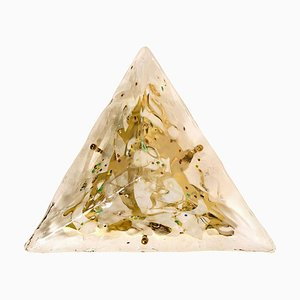 Gold-Plated Piramide Murano Glass Flush Mount / Wall Light from La Murrani, 1970s, Italy