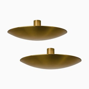 Large Brass Ceiling / Wall Lights by Florian Schulz, 1970s