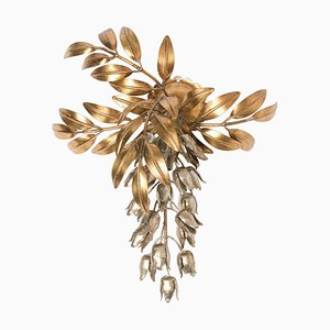 Gilt Metal Palm Tree Wall Light by Hans Kögl, 1960s