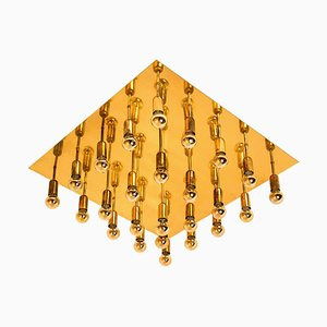 Large Sciolari Style Geometric Wall Light / Flush Mount, 1970s