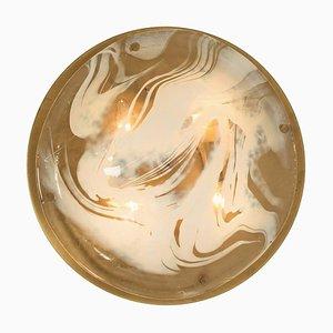 Brass and Blown Murano Glass Wall Light / Flush Mount