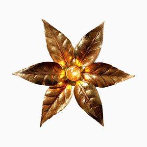 Large Brass Flower Wall Light in Style of Willy Daro, 1970s