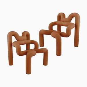 Burned Orange Armchairs by Terje Ekstrom, Norway, 1980s, Set of 2