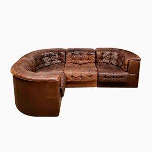 Vintage DS-11 Brown Patchwork Modular Sofa from De Sede, Set of 4